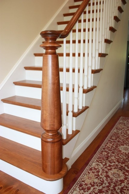Large Turned Newel Post Staircase Other By Kinzel Wood Products | Turned Newel Post Designs | Type | Spiral | Round | Wood Baluster | Black