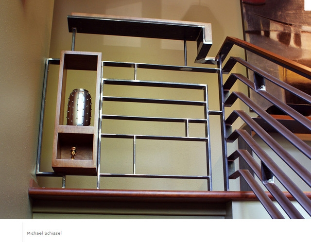 Marlborough Railing Midcentury Staircase Portland By | Mid Century Modern Stair Handrail | Vertical | Decorative | Fixer Up | Living Room | Contemporary Curved Staircase