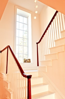 My Houzz Updated Federal Style In Massachusetts Farmhouse | Window Design For Stairs | Exterior | Kitchen Color Combination | Home Wooden Staircase | Residential | Two Story Staircase