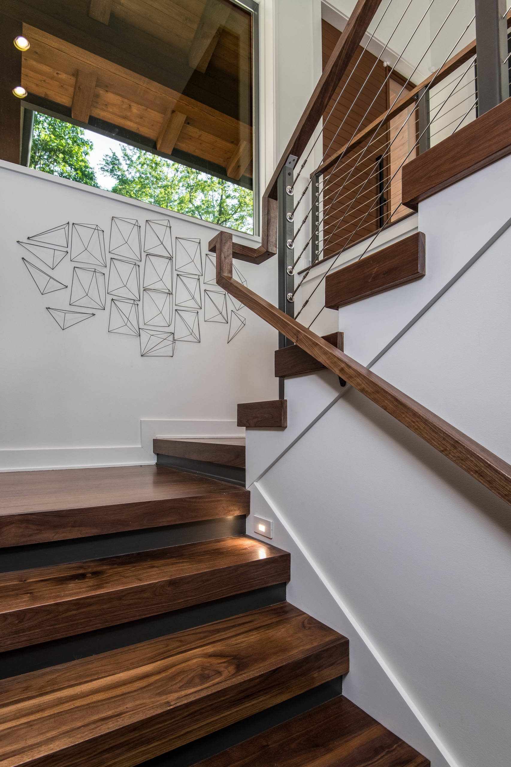 75 Beautiful Modern Staircase Pictures Ideas September 2020   Exterior Staircase Designs For Indian Homes   Elevation   Indian Style   Combination   Front Entrance Outdoor Staircase   Wall