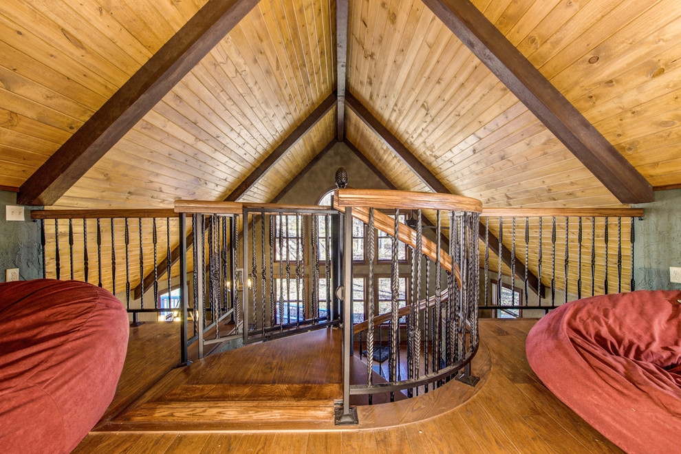 Rustic Loft Spiral Staircase Rustic Staircase Indianapolis | Spiral Staircase To Attic | Easy | Adding | Stairway | White | Corner
