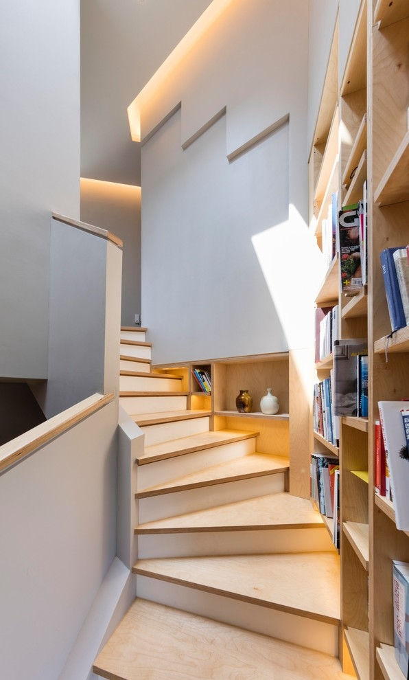 Simple House Contemporary Staircase Other By Mohammad Yazdani   Simple House Stairs Design   Staircase Woodwork   Separated   Family House   Outside   Low Budget