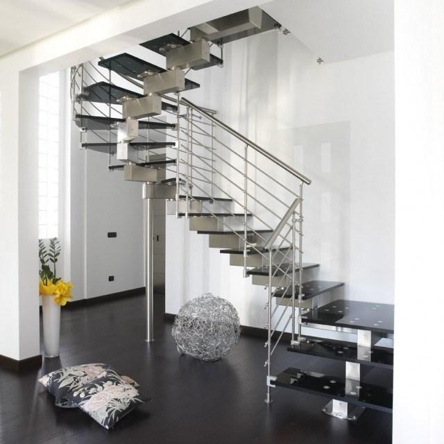 Stainless Steel Horizontal Stair Railings Contemporary | Modern Stainless Steel Staircase Railing | Modular Steel | Hand | Crystal Handrail | Contemporary | Exterior