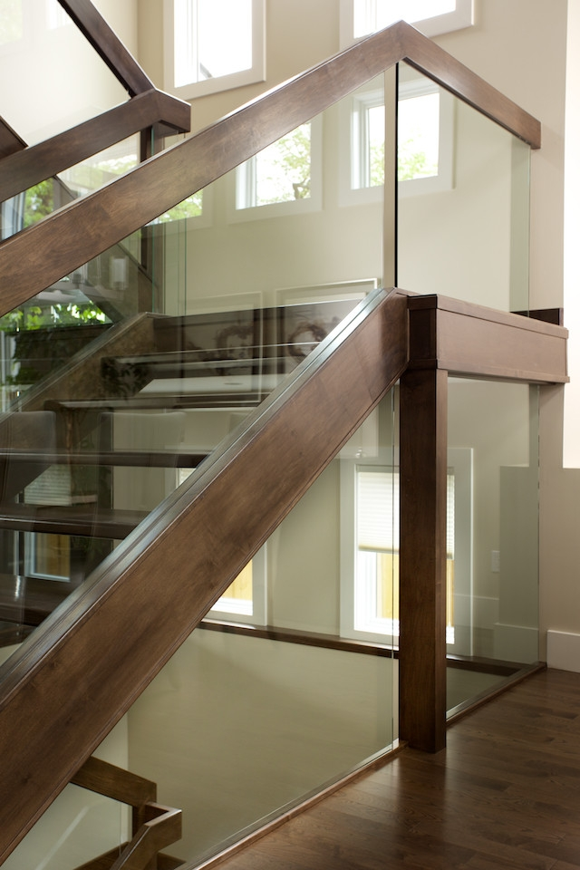 Straight Maple Stair With Glass Panel Railing Contemporary | Wooden Handrail With Glass | Oak | Square | Marble | Landing | Nautical Wood