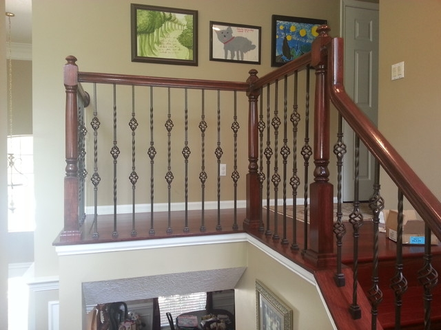 Updated Wood Balusters To Wrought Iron Balusters American   Installing Wrought Iron Balusters   Staircase   Stair Treads   Stair Parts   Iron Stair Spindles   Wood