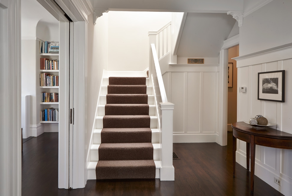 White Staircase With Carpet Runner Traditional Staircase San   White Stairs With Carpet   Chocolate Brown   Oak   Solid Colour   Colour   Landing