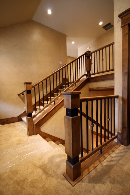 Wood Railing With Wrought Iron Balusters American Traditional | Iron And Wood Railing | Rod Iron | Interior | Deck | Custom | Horizontal