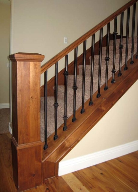 Wood Railing With Wrought Iron Balusters American Traditional | Wrought Iron And Wood Stair Railing | C Shaped | Banister | Elegant | Geometric | Design Iron