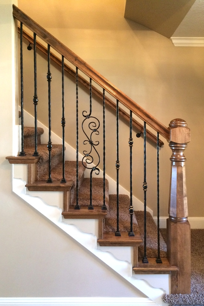 Wood Railing With Wrought Iron Balusters Traditional Staircase   Iron Handrails For Stairs   Cheap   Staircase   Spanish Style   Wood   Craftsman Style