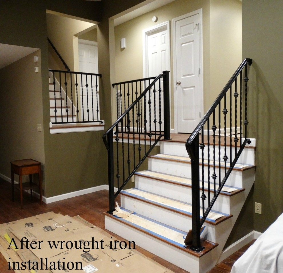 Wrought Iron Interior Railing Traditional Staircase | Wrought Iron Indoor Railing | Steel Frame Wood Deck | Metal | Glass Indoor | Victorian | Traditional