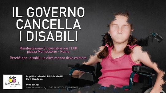 Risultati immagini per tagli ai disabili
