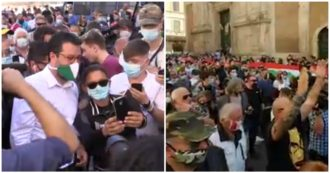 Center-right in the square, the procession of Salvini and Meloni between gatherings and selfies is without rules. And from the crowd insults Conte: