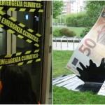 """A Torino attivisti """"chiudono"""" 11 filiali di Intesa Sanpaolo: """"In Italia banca nemica del clima numero 1"""" [VIDEO]"""