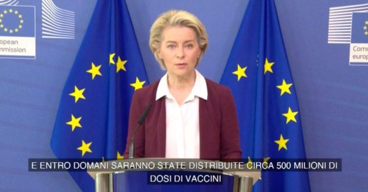 """Ue, von der Leyen: """"Consegnate le dosi per vaccinare il 70% degli adulti entro luglio. Pronti a fornirne di più anche contro le varianti"""""""