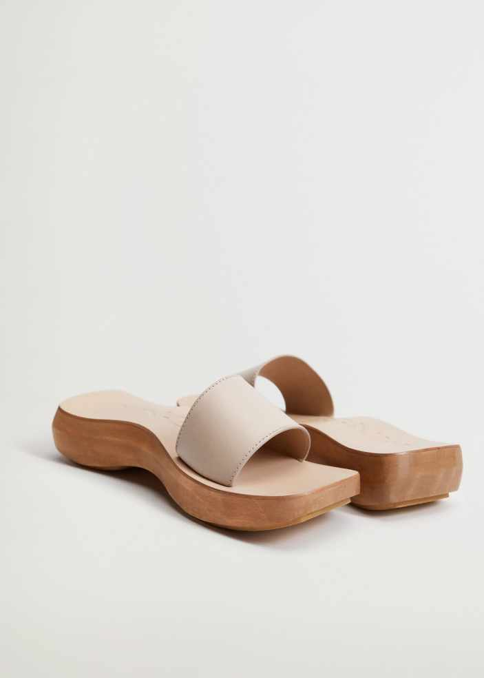 Asymmetric leather clog in white from Mango