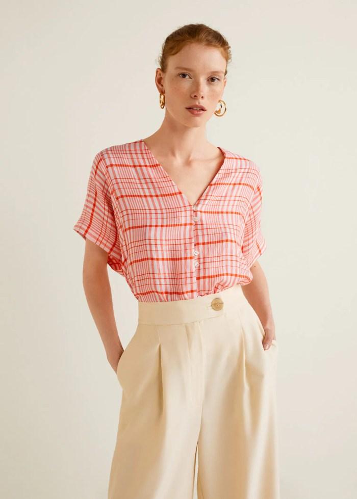 Geruite oversized blouse