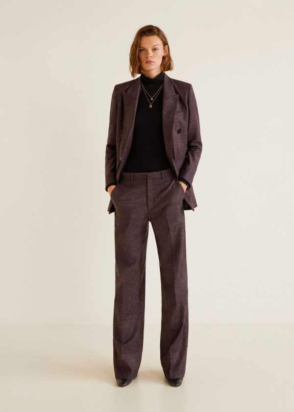 Flecked wool-blend trousers