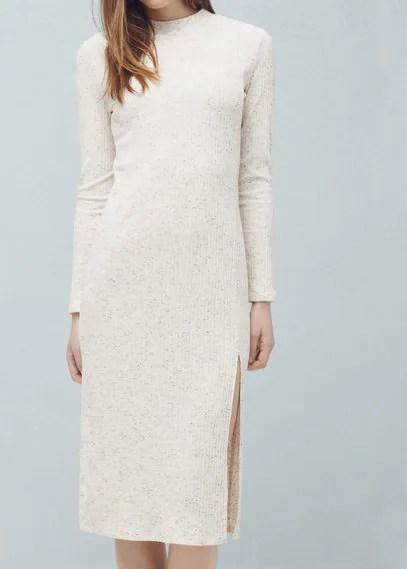 MANGO Ribbed Long Dress