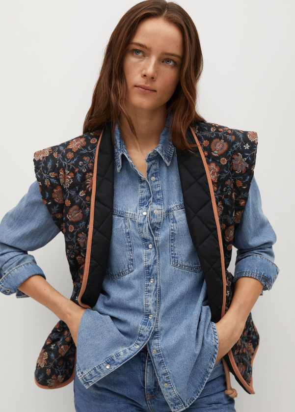 Printed quilted gilet - Mango