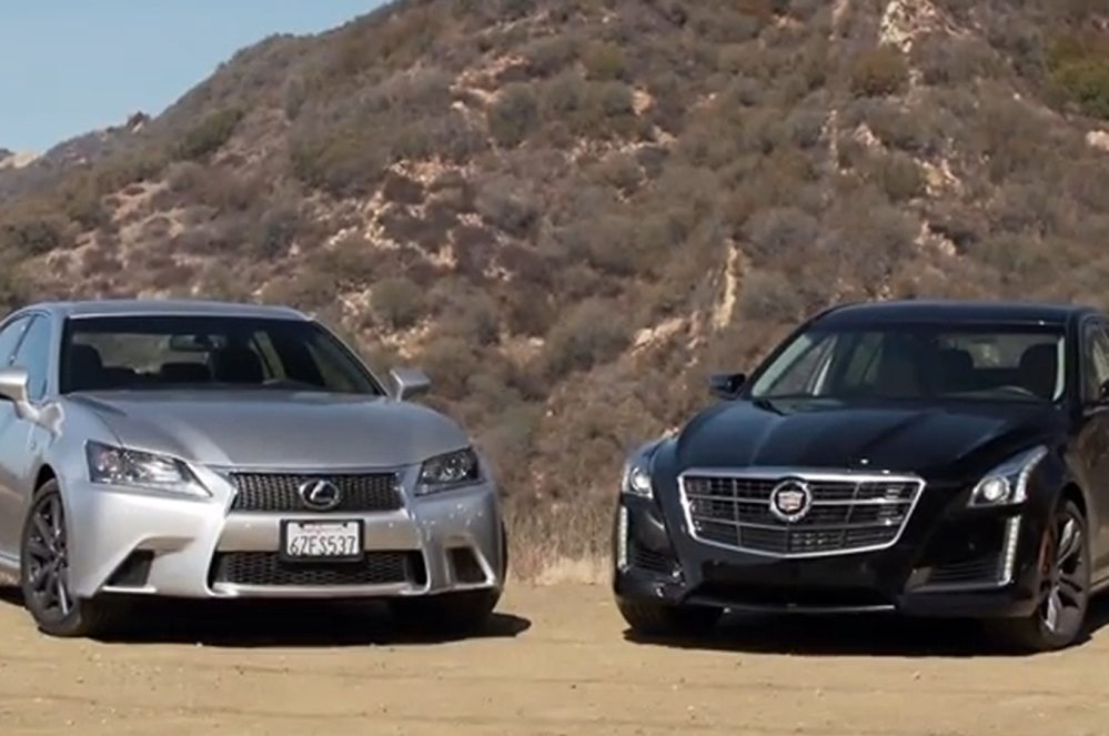 medium resolution of 2014 cadillac cts vsport and 2013 lexus gs 350 f sport 57 222