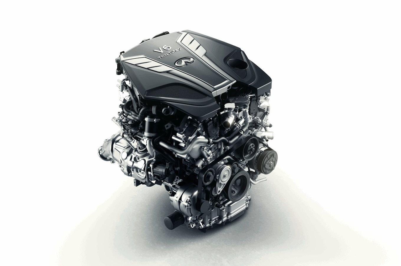 hight resolution of the details on the 2016 infiniti q50 s new twin turbo engine 1 8