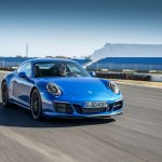2017 Porsche 911 Carrera 4 GTS Coupe front three quarter in motion 11