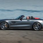 2018 Mercedes AMG GT C Roadster side profile in motion 03