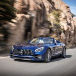 2018 Mercedes AMG GT Roadster front three quarter in motion 07