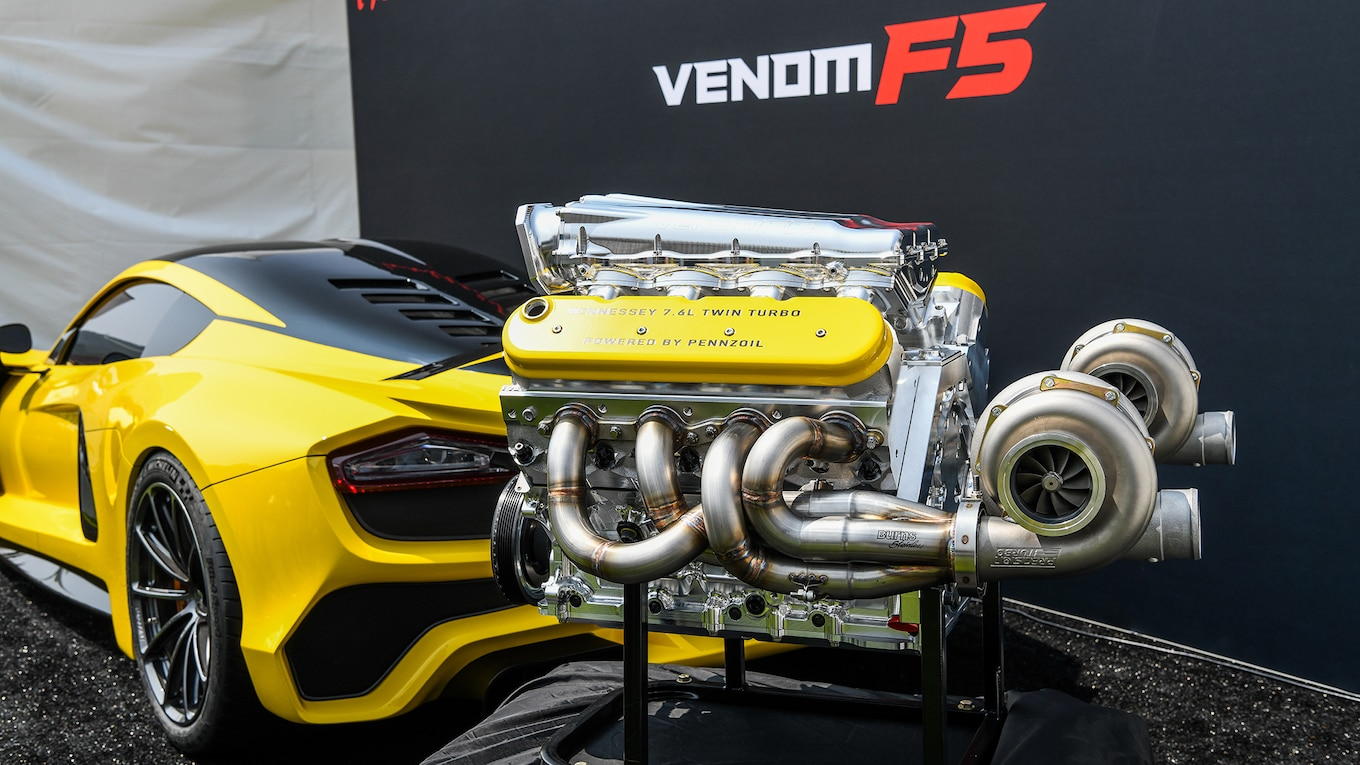 more details on the hennessey venom f5 s twin turbo 7 6 liter v 8 [ 1190 x 669 Pixel ]
