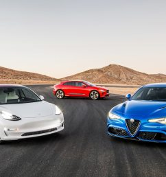 war of the worlds tesla model 3 dual motor performance vs jaguar i pace ev400 hse vs alfa romeo giulia quadrifoglio motor trend [ 1360 x 765 Pixel ]