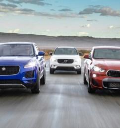 2019 jaguar e pace vs 2019 volvo xc40 comparison motor trend [ 1360 x 765 Pixel ]