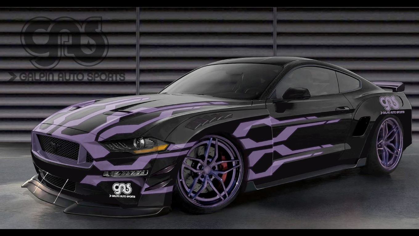 hight resolution of starting with a 2018 ford mustang gt coupe dealership and custom shop galpin auto sports went for a road racer look with a custom wide body kit
