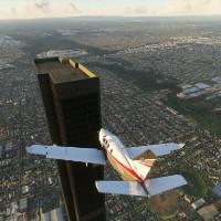 Lỗi đánh máy biến tòa nhà 2 tầng thành cao ốc chọc trời 212 tầng trong game Flight Simulator 2020