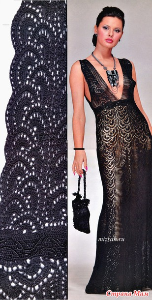 Черное платье крючком от Флоры Мази