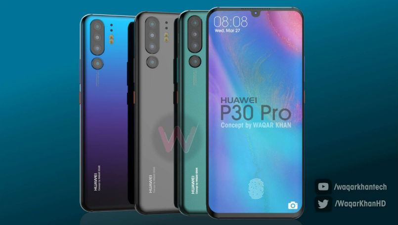 Huawei P30 Pro with quad camera setup and waterdrop notch imagined in a new concept render