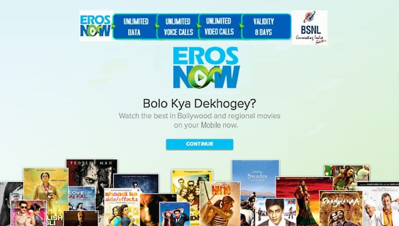 BSNL starts bundling free Eros Now Subscription with more prepaid STVs