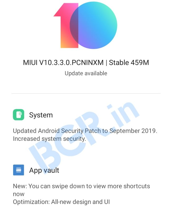 Redmi 8, Redmi 8 update