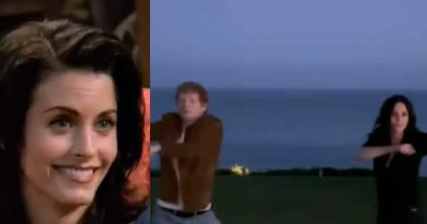 Courteney Cox aka Monica recreates the FRIENDS ROUTINE dance with Ed Sheeran and the end with leave you ROFL