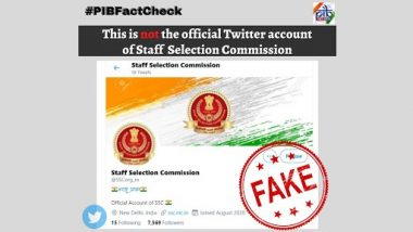Staff Selection Commission Has an Official Twitter Account by the Handle @SSCorg_in? PIB Fact Check Reveals Truth Behind Fake Twitter Account