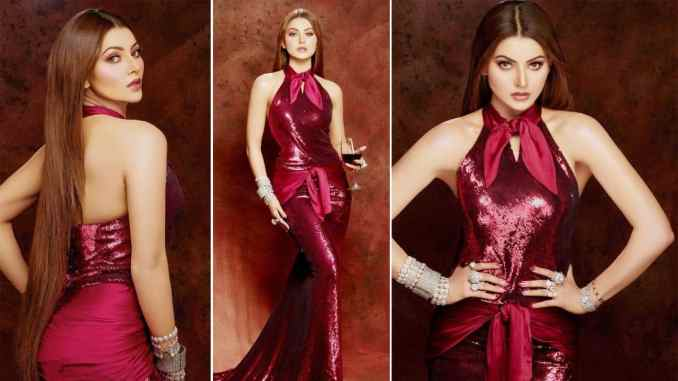 Urvashi Rautela Turns Up The Heat in a Burgundy Sequinned Gown  See Hot Photos