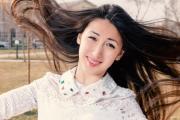 asian romantic girl outdoors. beautiful
