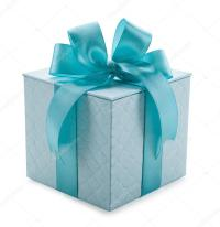 turquoise gift box with ribbon and bow isolated on a white ...