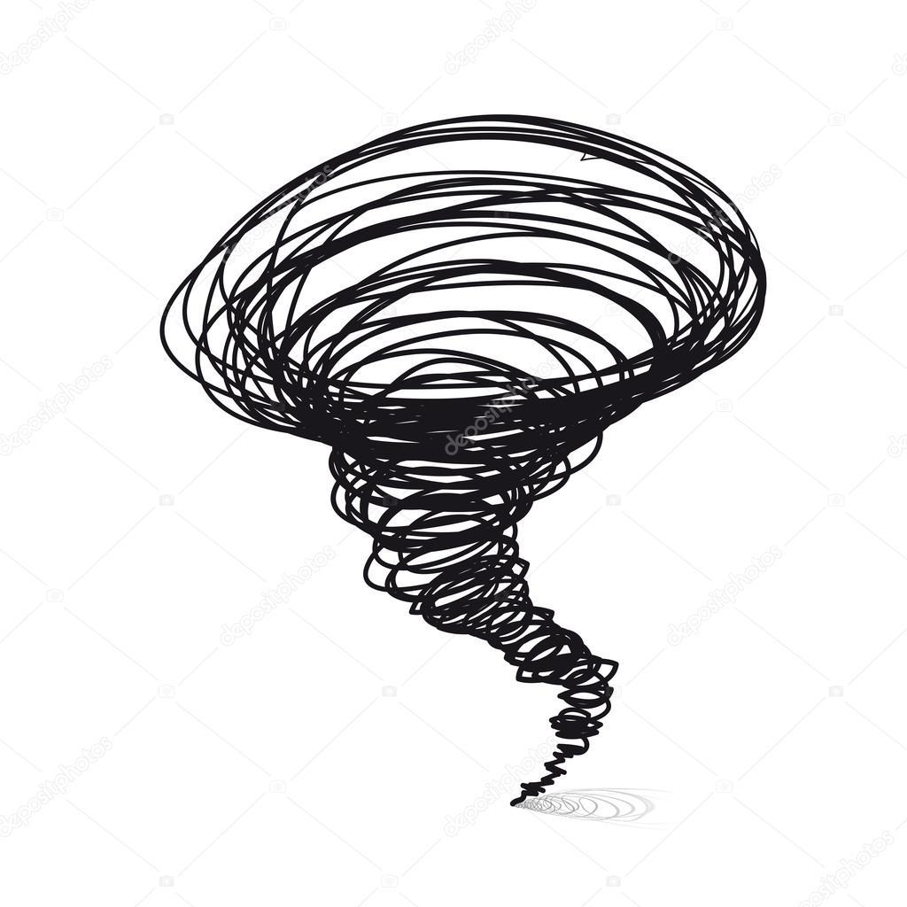 Handgezeichnete Vektorzeichnungen Wirbelsturm Tornado