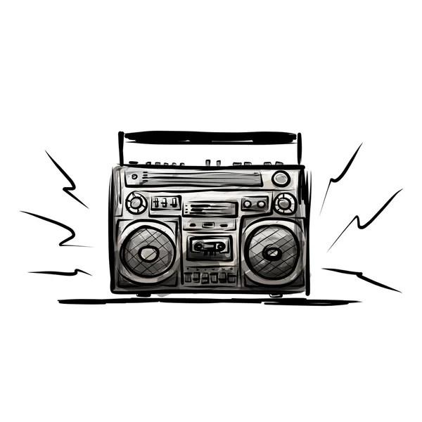 Vector retro Stereo Radio Cassette Recorder — Stock Vector