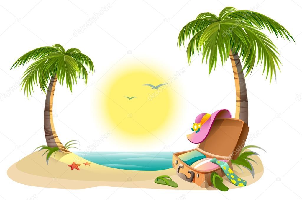 dessin de dessin mer palmier sable vacances dessincoloriage