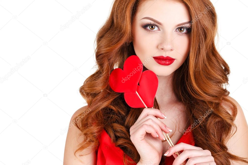 Beautiful Girl In A Valentines Day With A Heart On A Stick