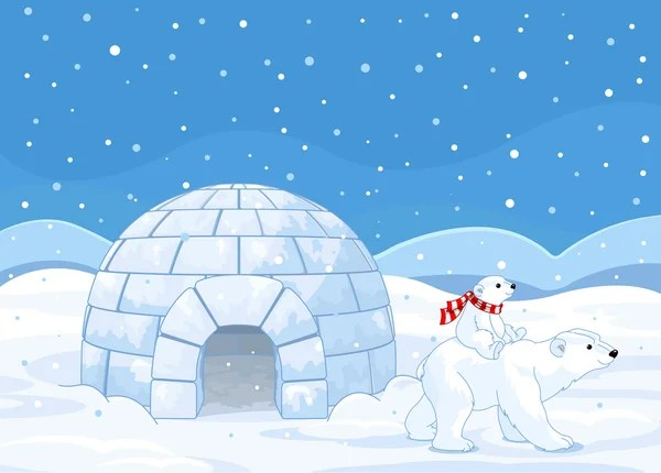 Cute Polar Bear Cubs Wallpaper White Snow Igloo Stock Vectors Royalty Free White Snow