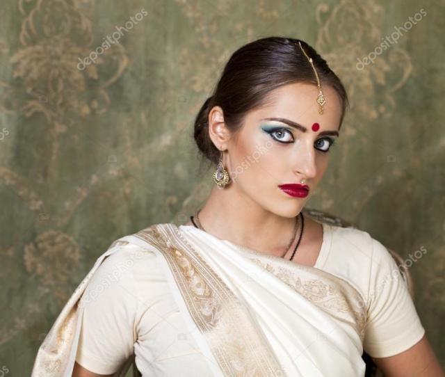 Young Beautiful Brunette Woman In Indian White Dress Photo By Arkusha