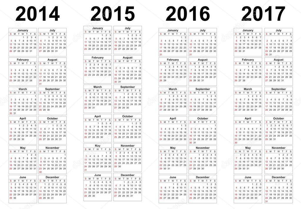 2014, 2015, 2016, 2017 year vector calendars — Stock