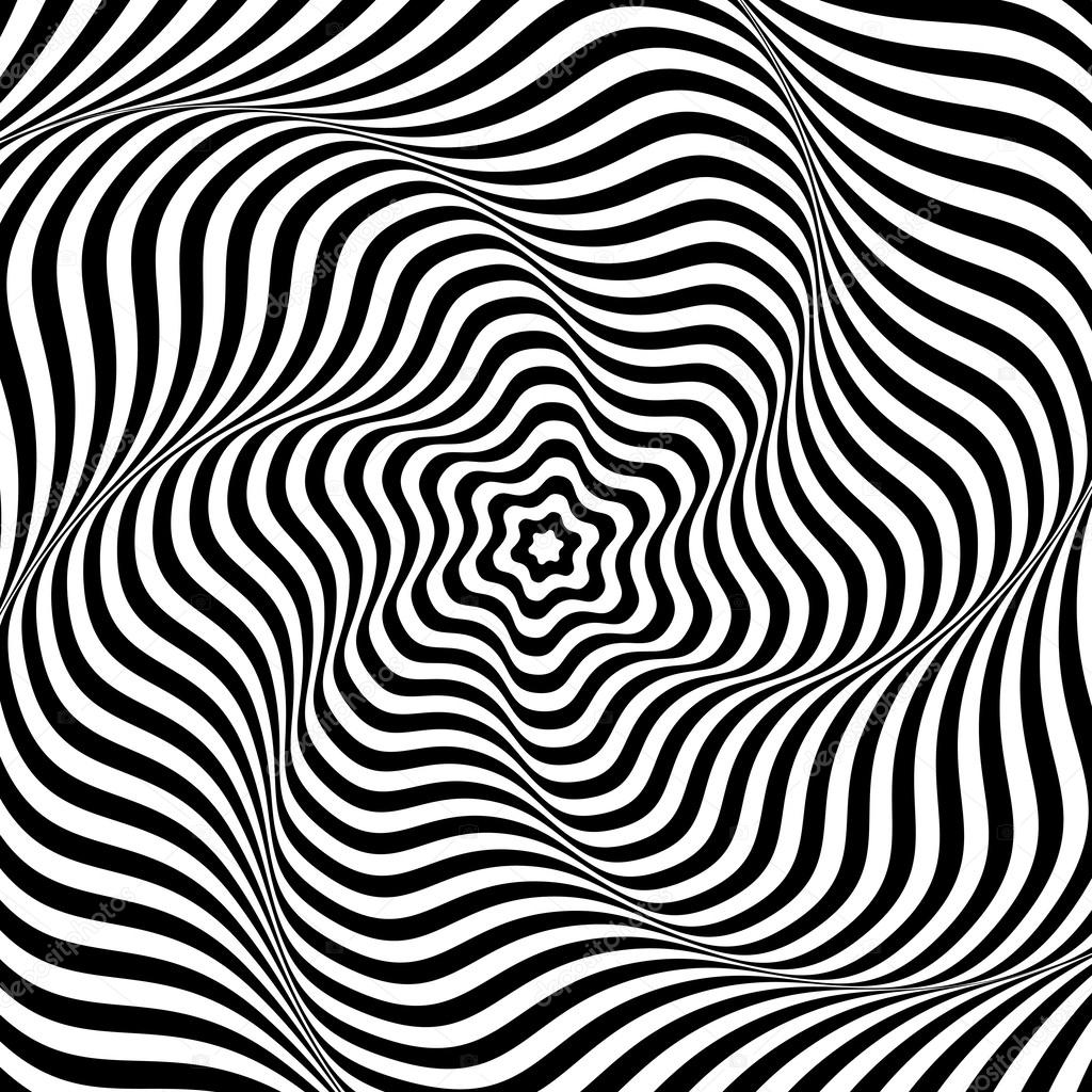 Abstract Op Art Background Illusion Of Wavy Rotation